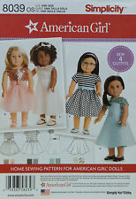 "Simplicity 8039 Sewing PATTERN for 18"" AMERICAN GIRL DOLL Clothes 4 Styles DRESS"