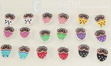 Colorful wise big eye owl small post stud earrings 9 pair colorful party favors