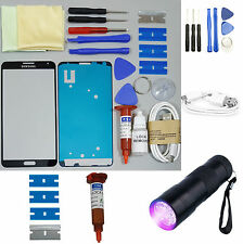 Samsung Galaxy Note 3 Front Glass Screen Replacement Repair Kit BLACK UV TORCH