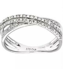 9ct White Gold Diamond Crossover Eternity Ring 0.10ct  size O . RRP £199