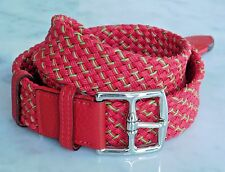Hermes Woven Belt Red Green Leather Sz 85 Silver Etriviere Palladium Buckle R190