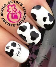 NAIL ART WATER TRANSFERS STICKERS DECALS BLACK COW SPOTS ANIMAL PRINT #449