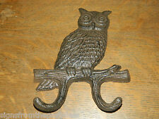 "7 1/2"" Rustic Cast Iron Owl Wall Mounted Double Coat Towel Key Hook ~NEW"