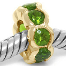 Real Oops Diopside 9ct Solid Gold Bead Charm FIT EURO BRACELETS, 30 Day Refund