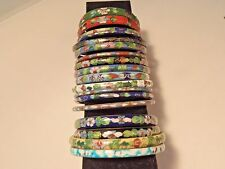 LOT of 18 CLOISONNE Bangle BRACELETS Vintage & Modern Colorful Floral Enamel