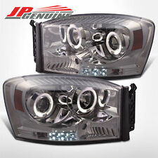 LED DUAL HALO PROJECTOR HEADLIGHTS SMOKE - DODGE RAM 1500/2500/3500 06-08