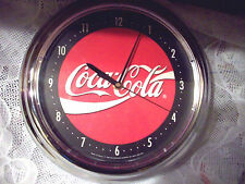 "Rare 1996 Chrome Coca-Cola Wall Clock 12"" Retro Kitchen Gameroom Den Decor Red"