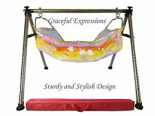 Orange-Yellow Newborn Baby Nursery Cradle Swing Ghodiyu with Hammock-Quick SetUp