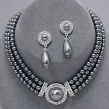 Silvery grey pearl jewellery faux pearl and diamante necklace set PROMS 0365