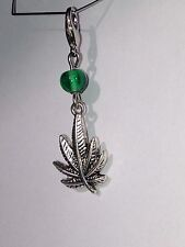 Marijuana Leaf W/ Green Glass Zipper Pull, Lanyard, Key Chain Bracelet Charm #3