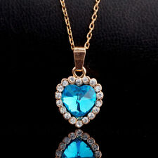 18K Gold Plated Sky Blue C.Z Pendant Necklace Chain