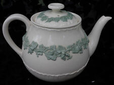 WEDGWOOD EMBOSSED QUEENSWARE CELADON GREEN ON CREAM  TEAPOT