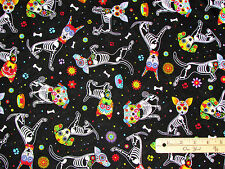 Day of the Dead Pups Dog Halloween Fabric by the 1/2 Yard   #4640