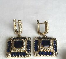 Turkish Handmade Jewelry Sapphire Sterling Silver Dangle Drop Square Earrings