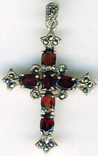 "925 Sterling Silver Garnet & Marcasite Cross Pendant   length  1.3/8""   33mm"