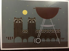 CHARLEY CHARLES HARPER Big Rac Attack New Art card  Raccoon grill cook out party