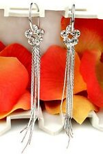 Gemma Stylish Rhinestone Flower Tassel Earrings Party Silver Plated  Occasion