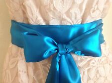 "2.5""X 60"" TEAL BLUE SATIN SASH BELT SELF TIE BOW UPDATE DRESS PARTY BRIDAL PROM"