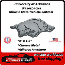 University of Arkansas Razorbacks Chrome Metal Car Auto Emblem Decal Ships Fast