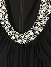 Fabulous BLACK BEADED PEARL SEQUIN COCKTAIL BOHO GODDESS GOWN MAXI DRESS PROM 4
