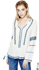 Nwt GUESS Debbie Bo-ho Shirt Top Embroidered Tunic Blouse White Blue XS 1 2 3