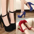 New Women Round Toe Sexy Suede Buckle Block High Heel Pump Platform Shoes Heels