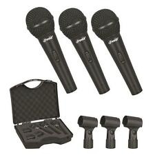 PylePro PDMICKT80 Set of 3 Dynamic Cardioid Vocal Microphones with Clips  3-Pack