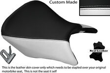 WHITE & BLACK CUSTOM FITS HONDA CB 500 13-14 FRONT LEATHER SEAT COVER ONLY
