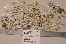 HUGE 130 Vtg Clasp Rhinestone + signed Jewelry Findings Repair Bracelet Necklace
