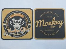 Beer Brewery COASTER  *  MONKEY PAW Brewing ~^~ San Diego, CALIFORNIA Since 2011