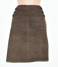 """Brown Leather ISABEL KRISTENSEN Pencil Knee Length High Waist Skirt Sz W29"""" L19"""""""