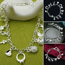Korean Fashion 925 Sterling Silver Bracelet Cuff Bangle 13 Charms Pendant Chain