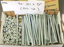 "1/4""- 20 x 5"" Hex Bolt Bolts Safety Nylon Jam Lock Nuts x50 Lot of 50"