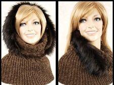 Warmer Capuchon Schlauchmütze mit Webfell Rand Mütze für Damen braun