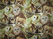 REALISTIC OWLS NATURAL OWL GREEN BROWN COTTON FABRIC FQ OOP