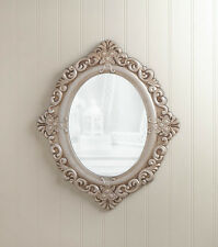 Distressed IVORY shabby vintage off white carved wood bathroom entry Wall Mirror