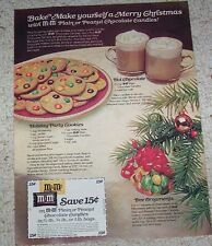 1977 ad page - M&M's chocolate candy Holiday Party Cookie recipe ADVERT clipping