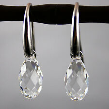 Crystal Clear Teardrop Drop 925 Silver Earrings Strong hooks Swarovski Elements