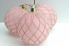 GISELA GRAHAM CHRISTMAS PINK FROSTED GOLD TRELLIS GLASS BAUBLE DECORATION X 3