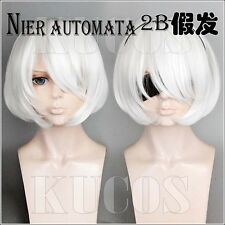 Game NieR:Automata 2B Cosplay Wig White Short Party Hair +Track Cos Prop