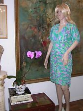 EMANUEL UNGARO Parallele Paris DRESS Silk Vintage 10 Ruched Skirt Empire Deep V