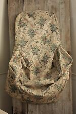 Antique French c1870 CHAIR SLIP COVER slipcover wingback  slipper  fabric old ~~