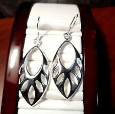 "LEAF teardrop shaped Dangle Earrings 2""x1"" Silver plated Fish Hook filagree Boho"