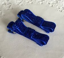 2 Packs Of Glittery Blue Simple hair bow Clips/aligator Clip/schools Uniform