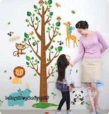 Jungle Animals Owls Bird Height Chart Tree Wall Stickers Kids Art Nursery Decals