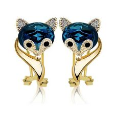 Amazing Ink Blue Crystal Fox Design Stud Party Prom Women Gift Earrings E974