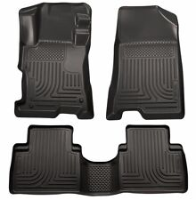 Floor Mats 2008-2012 Honda Accord 4-Door Black Husky WeatherBeater 1st & 2nd Row