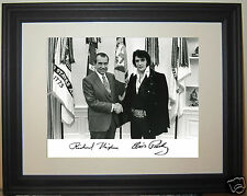 Richard Nixon meets Elvis Presley Autograph 1970 White House Framed Photo