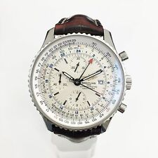Breitling Navitimer World Stainless Steel 46MM Watch All Original Box and Papers