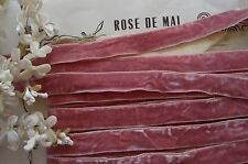 1y VTG FRENCH ROSE PINK CRUSHED PANNE VELVET MILLINERY RIBBON TRIM FLAPPER HAT